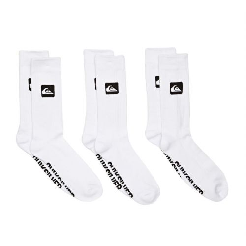 QUIKSILVER MENS SOCKS.NEW 3 PACK CREW LONG WHITE UK 6 - 11 Eur 40 - 45 8W 69 WBB